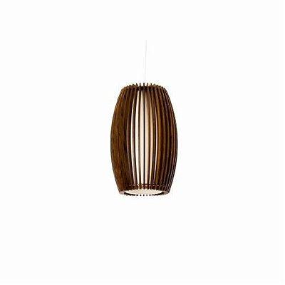 Pendente Accord Iluminação Stecche Di Legno Oval Madeira Natural 30x20cm 1x E27 110v 220v Bivolt 1140 Sala Estar Hall