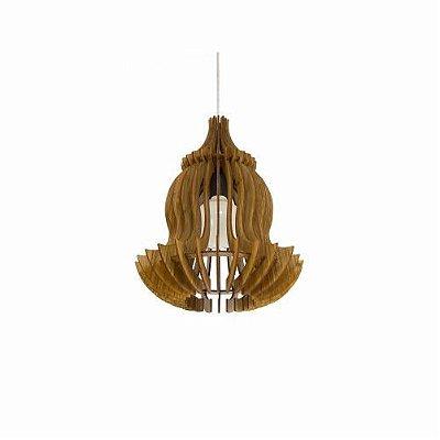 Pendente Accord Iluminação Stecche Di Legno Suspenso Madeira Natural 37x30cm 1x E27 110v 220v Bivolt 1268 Sala Estar Cozinhas