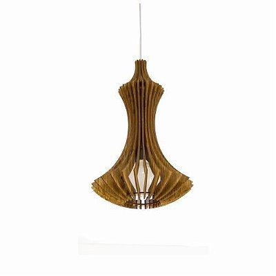 Pendente Accord Iluminação Stecche Di Legno Suspenso Madeira Natural 43x27,5cm 1x E27 110v 220v Bivolt 1269 Sala Estar Cozinhas