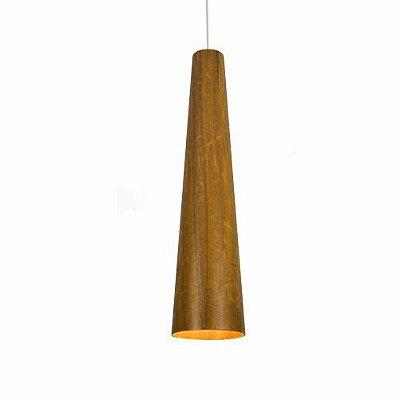 Pendente Accord Iluminação Tubo Cônico Suspenso Madeira Natural 70x15cm 1x E27 110v 220v Bivolt 1280 Mesa Jantar Balcões