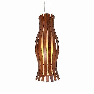 Pendente Accord Iluminação Tulipa Ripas Suspenso Madeira Natural 70x24cm 1x E27 110v 220v Bivolt 1098 Corredores Sala Estar