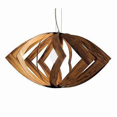 Pendente Accord Iluminação Versátil Aramado Horizontal Madeira Natural 35x68cm 1x E27 110v 220v Bivolt 1243 Sala Estar Cozinhas