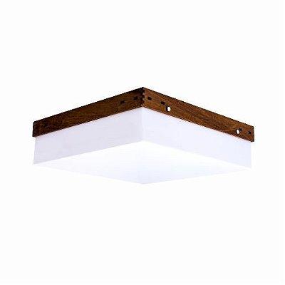 Plafon Accord Iluminação Cachepô Clean Sobrepor Quadrado Madeira Natural 12x30cm 2x E27 110v 220v Bivolt 539 Sala Estar Quartos