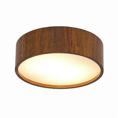 Plafon Accord Iluminação Cilindro Sobrepor Redondo Madeira Natural 12x80cm 6x E27 110v 220v Bivolt 546 Sala Estar Hall
