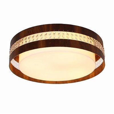 Plafon Accord Iluminação Cristais Cilindro Redondo Madeira Natural 15x50cm 3x E27 110v 220v Bivolt 5025 Sala Estar Entradas