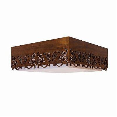 Plafon Accord Iluminação Renda Quadrado Sobrepor Madeira Natural 15x45cm 3x E27 110v 220v Bivolt 5003 Sala Estar Hall