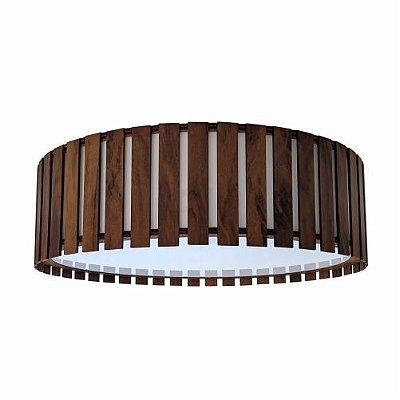 Plafon Accord Iluminação Ripas Cilindro Redondo Madeira Natural 15x50cm 3x E27 110v 220v Bivolt 5033 Sala Estar Cozinhas