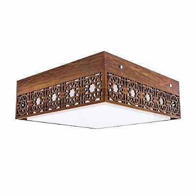 Plafon Accord Iluminação Star Sobrepor Quadrado Madeira Natural 15x45cm 3x E27 110v 220v Bivolt 5020 Quartos Sala Estar