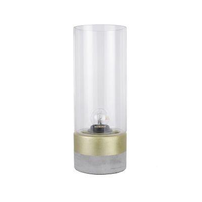Abajur Bella Iluminação Moa Metal Vidro Translucido Concreto 31,5x12cm 1 E-27 110v 220v Bivolt CI012A Mesa Jantar  Sala Estar