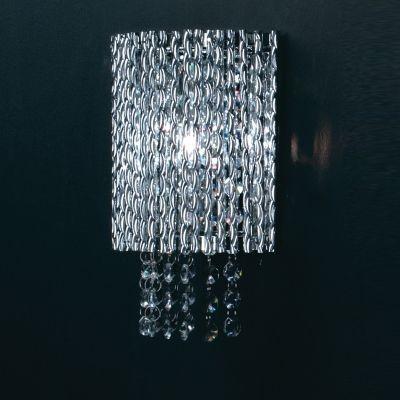 Arandela Bella Iluminação Adagio Metal Retangular Vidro Cristal K9 21x19cm 1 G9 Halopin HO207W Corredores Quartos