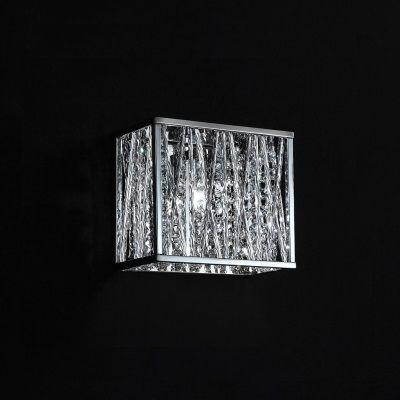 Arandela Bella Iluminação Adágio Quadrada Metal Cromo Cristal K9 20x19cm 1 G9 Halopin HO023 Corredores Saguão