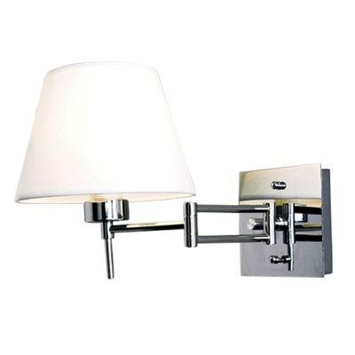Arandela Bella Iluminação Articulada Lettura Aço Cromo Tecido 13x15cm 1 E27 110v 220v Bivolt VT2070 Sala Estar Quartos