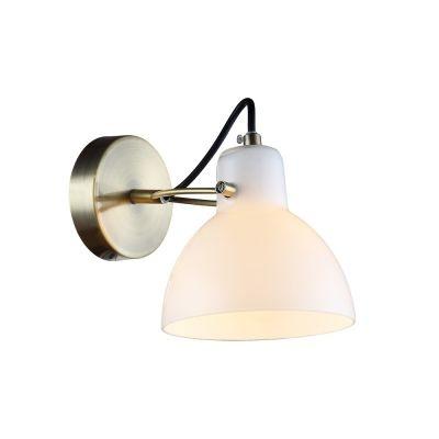 Arandela Bella Iluminação Bar Sino Vidro Branco Metal Bronze 17x22cm 1 G9 Halopin 40W 110v 220v Bivolt OP058B Sala Estar Quartos