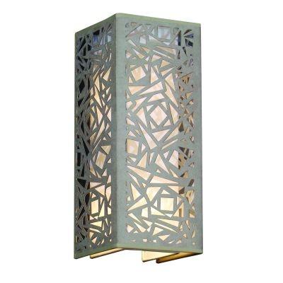 Arandela Bella Iluminação Camurça Metal Bege Linear Quadrado 42x17cm 2 E27 110v 220v Bivolt HU5026AM Saguão Quartos