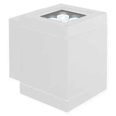 Arandela Bella Iluminação Externa Block Metal Branco 14,5x11cm 1 LED 8W 110v 220v Bivolt LX1052W Muros Jardins