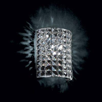 Arandela Bella Iluminação Gliss Quadrada Metal Cromo Cristal K9 22x18cm 1 G9 Halopin 110v 220v Bivolt HO001 Corredores Sala Estar