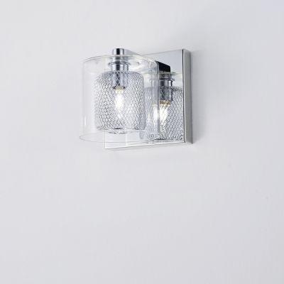 Arandela Bella Iluminação Lampar Tubo Metal Cromo Vidro 13x12cm 1 G9 Halopin 110v 220v Bivolt HO055 Quartos Saguão