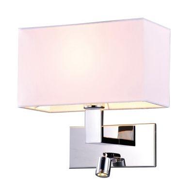 Arandela Bella Iluminação Leitura Cupula Tecido Metal Cromo 28x18cm 1 LED 1W /1 E27 110v 220v Bivolt ZU009A Mesa Jantar  Balcões