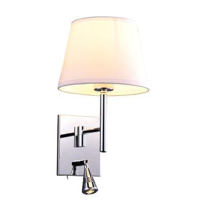 Arandela Bella Iluminação Leitura Cupula Tecido Metal Cromo 34x25cm 1 LED 1W /1 E27 110v 220v Bivolt ZU011A Mesa Jantar  Balcões
