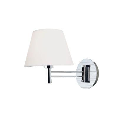 Arandela Bella Iluminação Maison Metal Cromo Cupula Tecido 46x30cm 1 E27 110v 220v Bivolt KD1939 Corredores Quartos