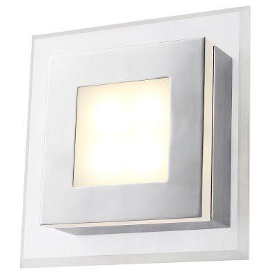 Arandela Bella Iluminação Pip Quadrada Metal Acrílico Cromo 5,5x17,5cm 1 LED 4W 110v 220v Bivolt MG007C Quartos Sala Estar