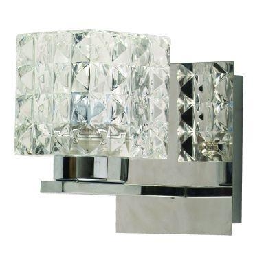 Arandela Bella Iluminação Prisma Cubica Metal Vidro Translucido 10x9cm 1 G9 Halopin 110v 220v Bivolt HU2149W Quartos Sala Estar