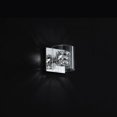 Arandela Bella Iluminação Ravel Metal Cromo Cristal K9 Vidro 13x14cm 1 G9 Halopin 110v 220v Bivolt HO028 Corredores Sala Estar