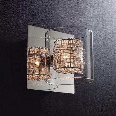 Arandela Bella Iluminação Ravel Metal Vidro Translucido 13x13cm 1 G9 Halopin 110v 220v Bivolt HO110A Corredores Sala Estar