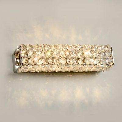 Arandela Bella Iluminação Ret Acorde Metal Cromo Cristal K9 10x31cm 3 G9 Halopin 110v 220v Bivolt WA001 Sala Estar Quartos