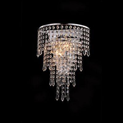 Arandela Bella Iluminação Sobrepor Zola Metal Cromo Cristal K9 16,5x27cm 2 G9 Halopin 110v 220v Bivolt SS007 Sala Estar Quartos