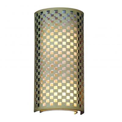 Arandela Bella Iluminação Tubo Linear Metal Tecido Bege Branco 42x20cm 2 E27 110v 220v Bivolt HU5030AM Sala Estar Saguão