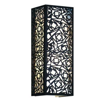 Arandela Bella Iluminação Linear Tecido Metal Preto Quadrado 60x22cm 2 E27 110v 220v Bivolt HU5026BL Quartos Saguão