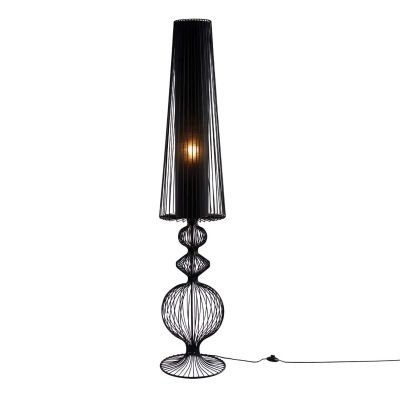 Luminária Bella de Chão Aco Metal Cupula Tecido Preto 180x35cm  1x E27 Bivolt GX020 Salas e Quartos