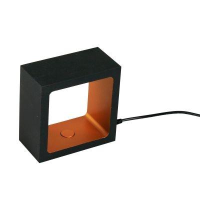 Luminária Bella Iluminação de Mesa Kube Metal Preto Ouro 10x5cm LED 5W 110v 220v Bivolt LZ050B Mesa Jantar  Criados Mudos