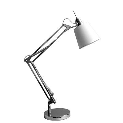Luminária Bella Iluminação Mesa Scope Articulada Cromo Branco 37x35cm 1 E27 110v 220v Bivolt HU3002C Mesa Jantar  Criados-Mudos
