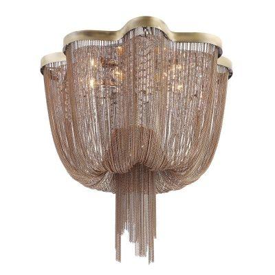 Lustre Bella Iluminação Ária Imperial Correntes Metal Bronze 50x80cm 8 E14 110v 220v Bivolt WD016B Saguão Hall