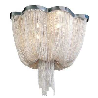 Lustre Bella Iluminação Ária Imperial Correntes Metal Cromo 50x80cm 8 E14 110v 220v Bivolt WD016C Saguão Hall