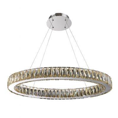 Lustre Bella Iluminação Aura LED Cristal K9 Champagne Metal Cromo 50x80cm 1 LED 32W 110v 220v Bivolt WE002A Mesa Jantar  Cozinhas
