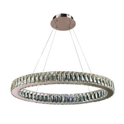 Lustre Bella Iluminação Aura LED Cristal K9 Translucido Metal Cobre 50x80cm 1 LED 32W 110v 220v Bivolt WE002B Mesa Jantar  Sala Estar