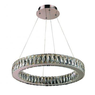 Lustre Bella Iluminação Aura LED Cristal K9 Translucido Metal Cromo Ø60cm 1 LED 32W 110v 220v Bivolt WE001B Mesa Jantar  Cozinhas