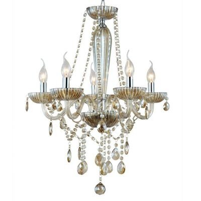 Lustre Bella Iluminação Candelabro Anjou Metal Vidro Champagne 68x55cm 5 E14 110v 220v Bivolt JF015A Sala Estar Hall