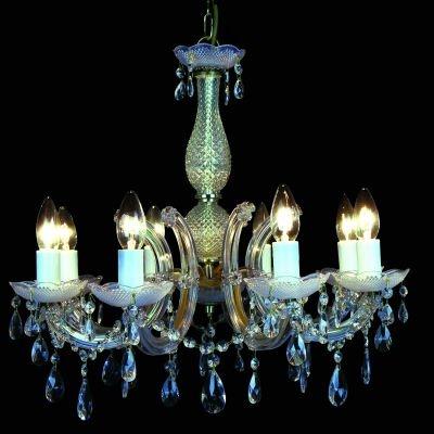 Lustre Bella Iluminação Candelabro Duchessa 8 Braços Vidro Translucido 56x56cm 8 E14 110v 220v Bivolt KH1068 Saguão Hall