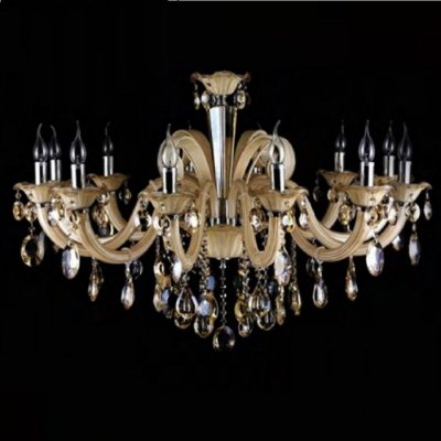 Lustre Bella Iluminação Candelabro Gallery Cristal K9 Vidro Champagne 72x100cm 12 E14 110v 220v Bivolt YL8206 Sala Estar Hall