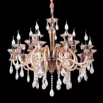 Lustre Bella Iluminação Candelabro Gallery Cristal K9 Vidro Champagne Ø80cm 15 E14 110v 220v Bivolt YL5055 Saguão Sala Estar