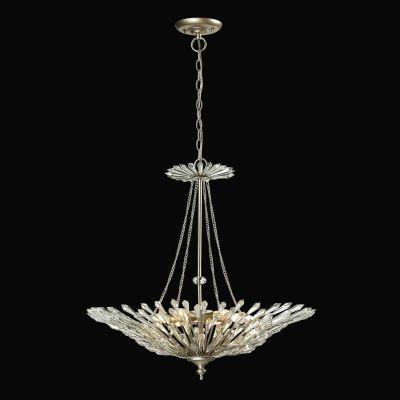 Lustre Bella Iluminação Deco Pêndulo Cristal K9 Metal Prata Envelhecido 69x66cm 6 E14 110v 220v Bivolt BO001 Saguão Hall