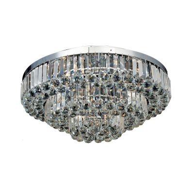 Lustre Bella Iluminação Dijon Metal Cromo Cristal K9 Translucido 38x80cm 13 E14 40w 110v 220v Bivolt AQ008L Corredores Sala Estar
