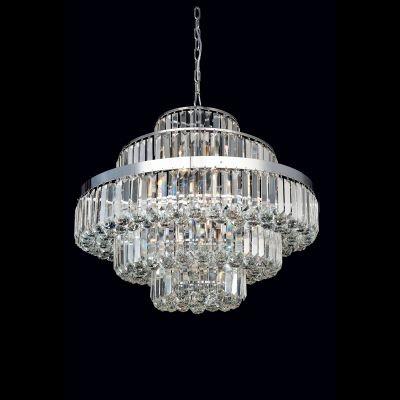 Lustre Bella Iluminação Dijon Metal Cromo Cristal K9 Translucido 55x70cm 12 E14 40w 110v 220v Bivolt AQ009 Hall Sala Estar