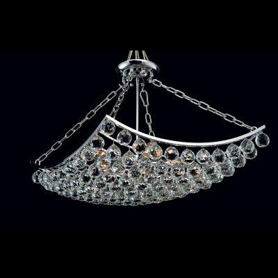 Lustre Bella Iluminação Eze Metal Cromo Cristal K9 Translucido 45x45cm 5 E14 40w 110v 220v Bivolt AQ004S Sala Estar Hall