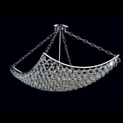 Lustre Bella Iluminação Eze Metal Cromo Cristal K9 Translucido 60x60cm 8 E14 40w 110v 220v Bivolt AQ004L Sala Estar Hall