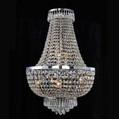 Lustre Bella Iluminação Imperio Metal Cromo Cristal K9 Translucido 79x52cm 8 E14 110v 220v Bivolt AQ022 Sala Estar Hall